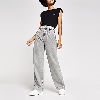 Grey high rise wide leg jeans