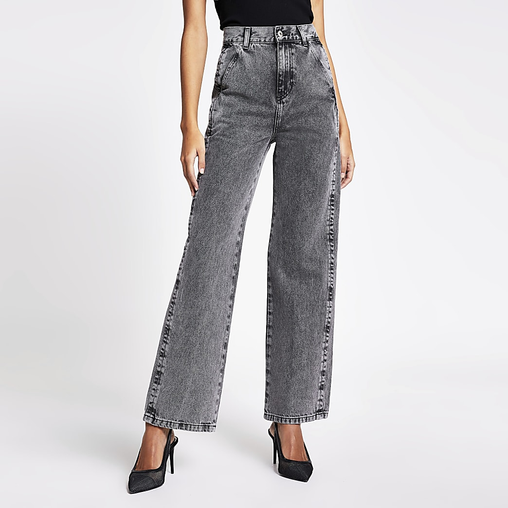 Grey high rise wide leg jeans