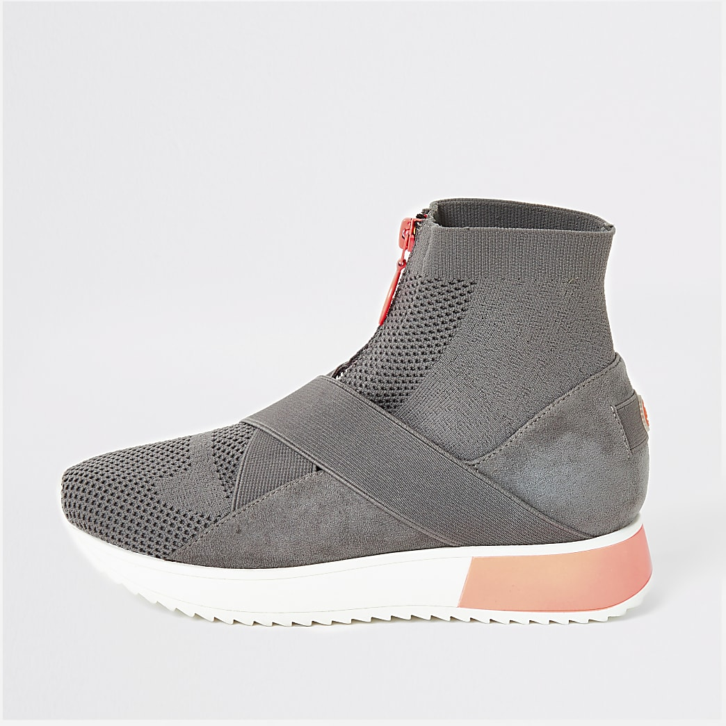 Grey high top knitted runner sock trainers