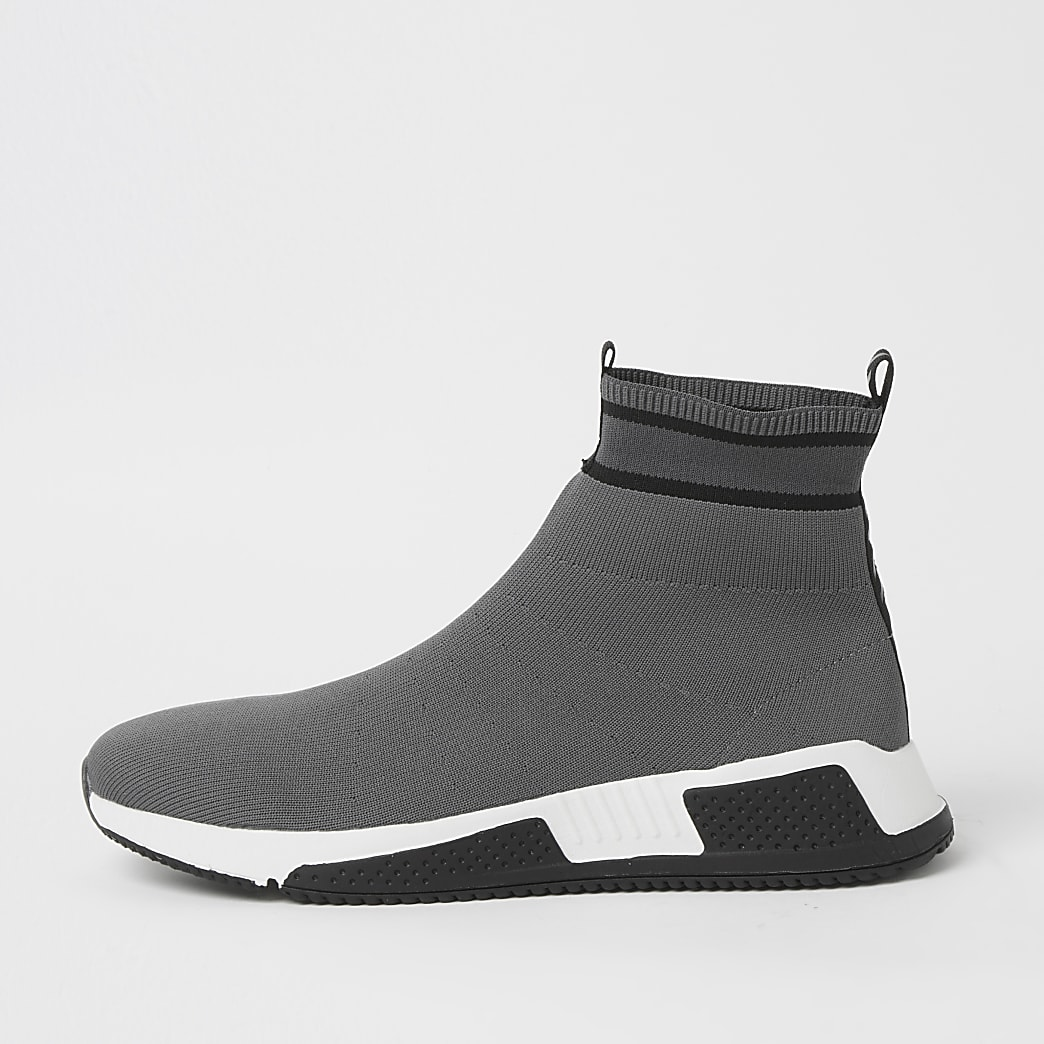 Grey high top sock runner
