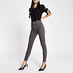 Grey high waist zip front skinny jeans