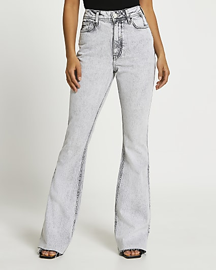 Grey high waisted bum sculpt flared jeans