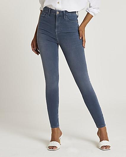 Grey high waisted bum sculpt skinny jeans
