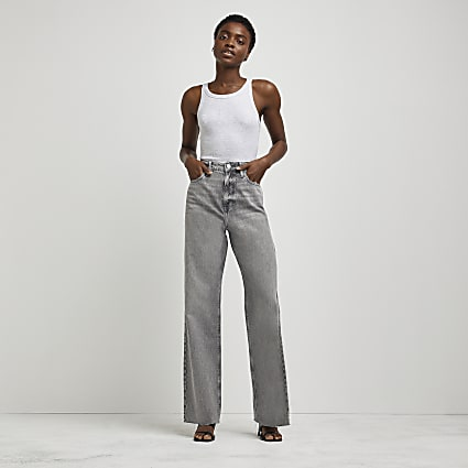 Grey high waisted dad jeans