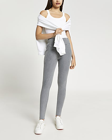 Grey high waisted denim fitted legging