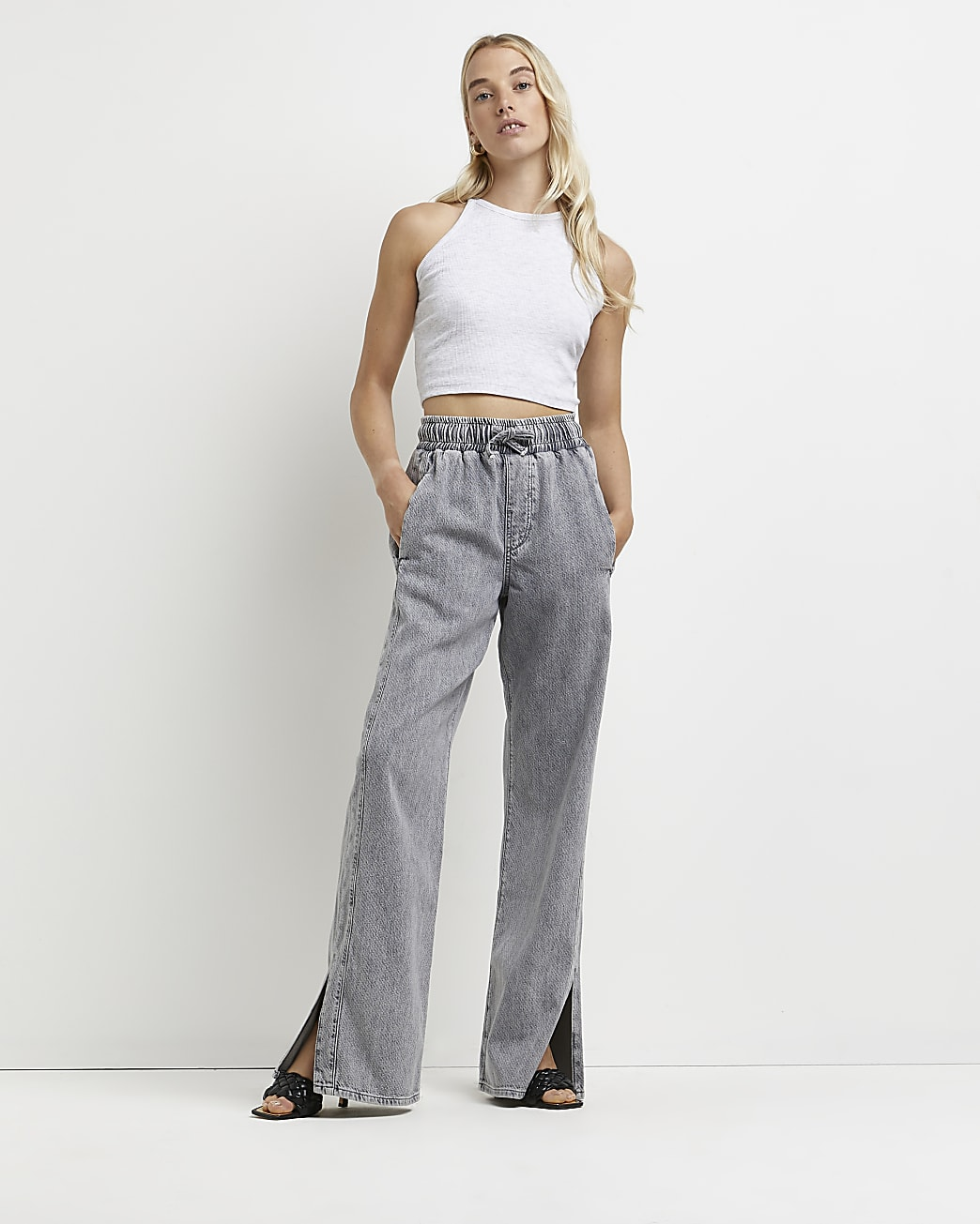 Grey high waisted flared jeans