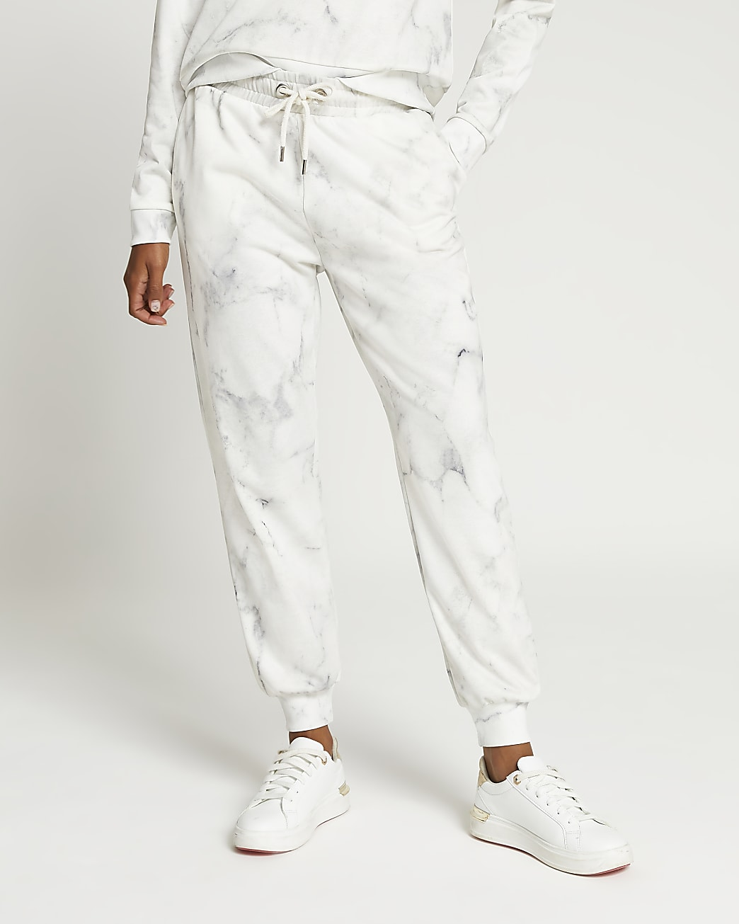 Grey high waisted marble print joggers
