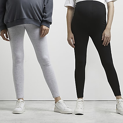 Grey high waisted maternity legging pack of 2