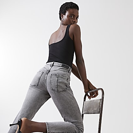 Grey high waisted mom stretch jean