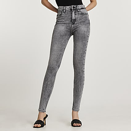 Grey high waisted skinny bum sculpt jeans