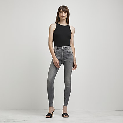 Grey high waisted skinny sculpt jeans