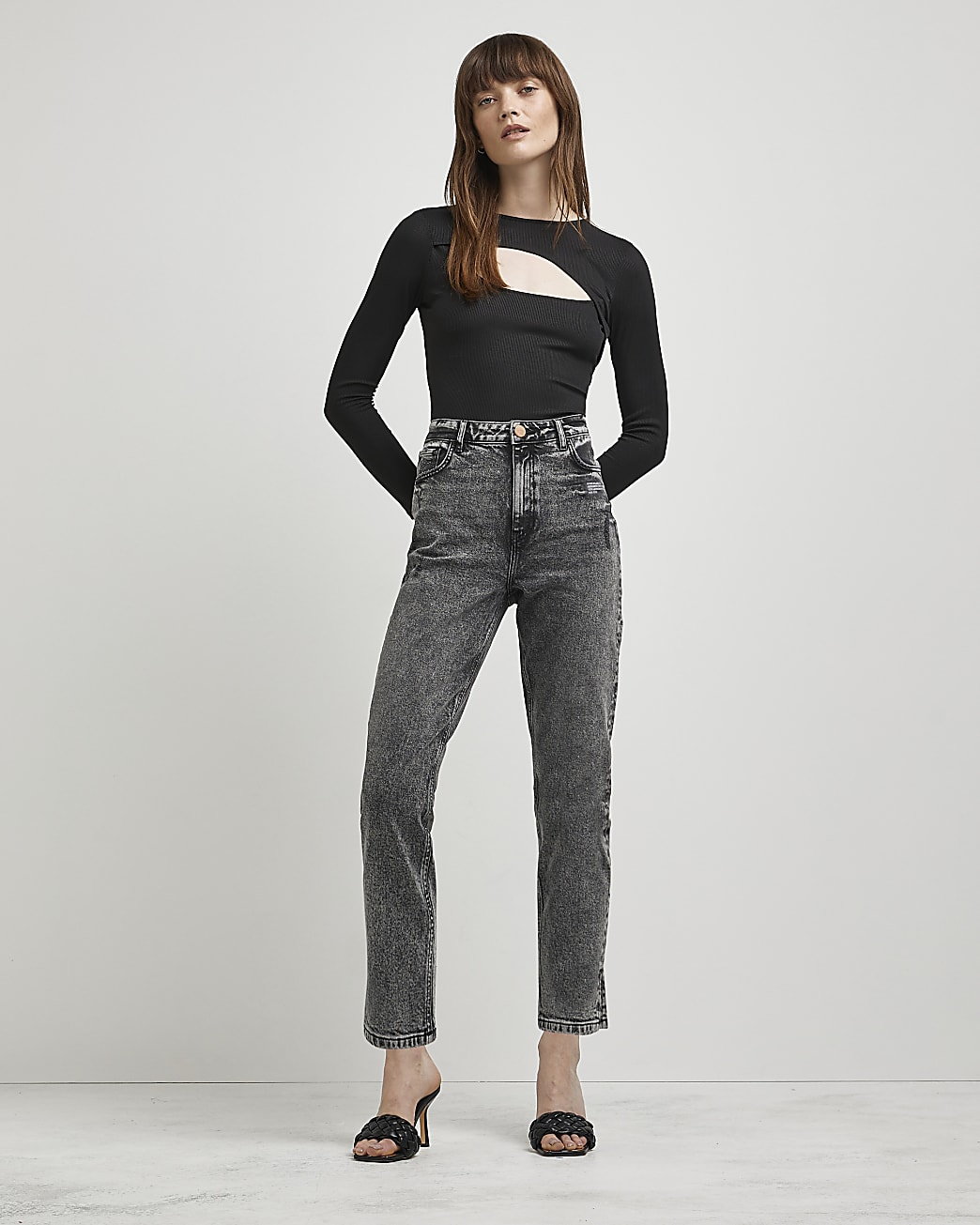 Grey high waisted slim fit jeans