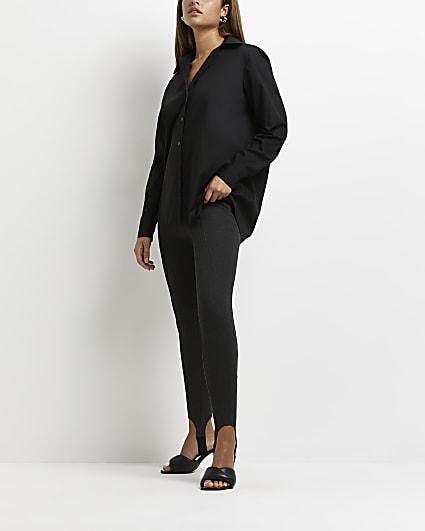 Grey high waisted stirrup leggings