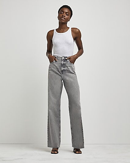 Grey high waisted wide leg jeans
