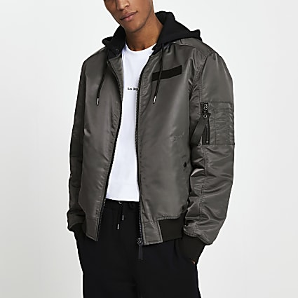 Grey hooded bomber jacket