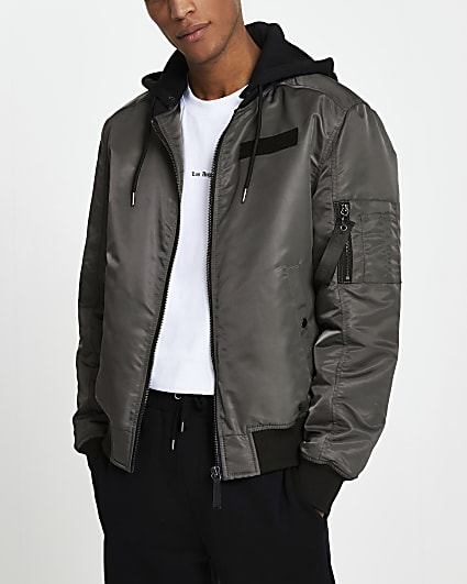 Grey hooded bomber jacket
