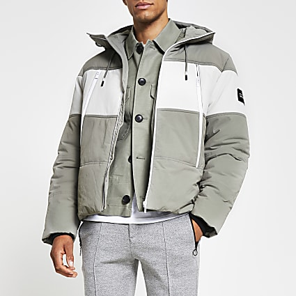 Grey hooded colour block puffer jacket