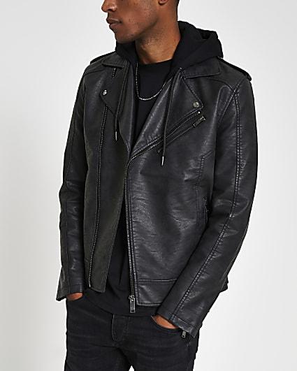 Grey hooded faux leather biker jacket