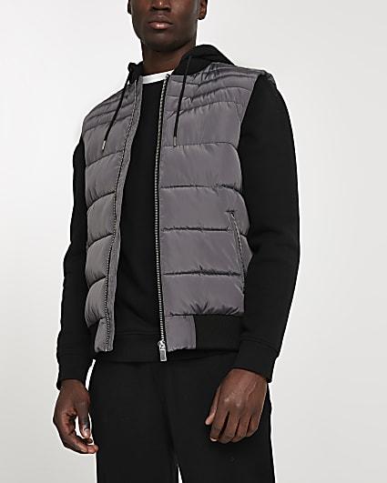 Grey hooded gilet