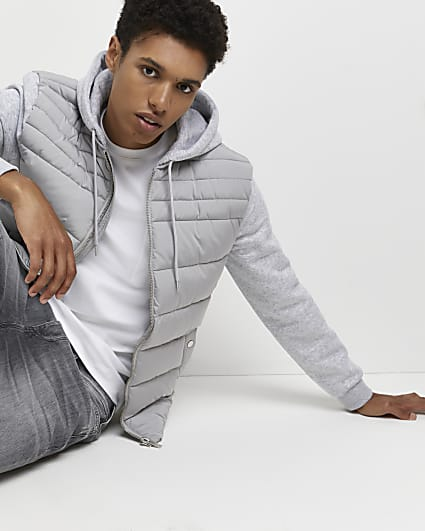 Grey hooded hybrid quilted jacket