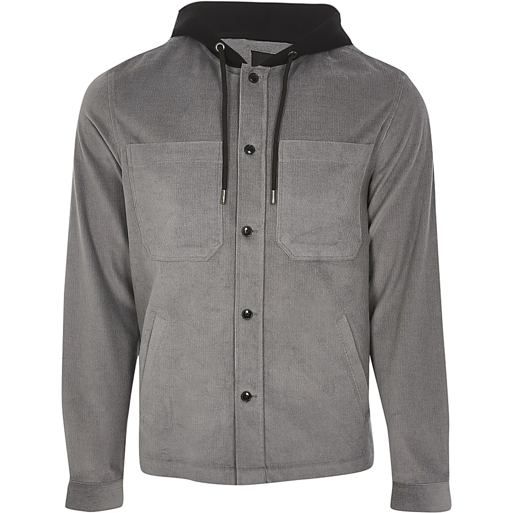 Grey hooded long sleeve shacket