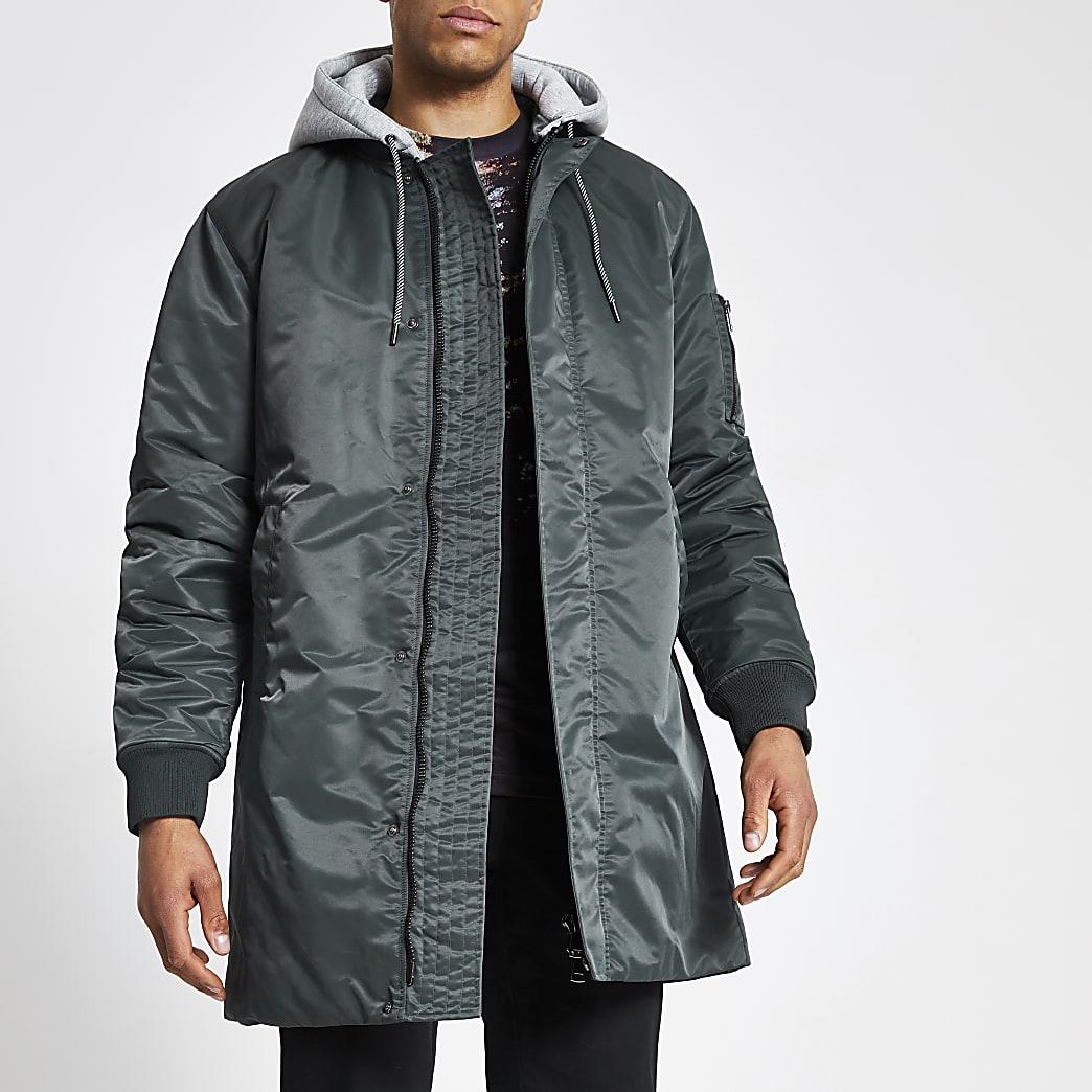 Grey hooded longline bomber jacket