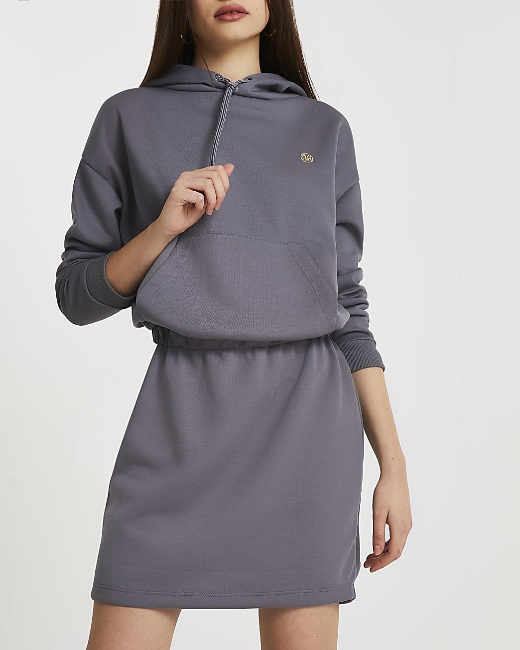 Grey hooded mini dress