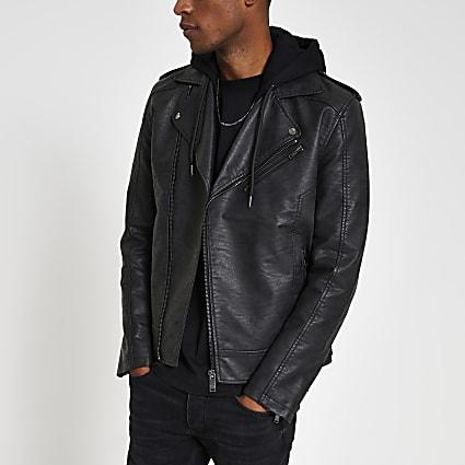 Grey hooded PU jacket