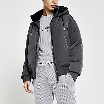 Grey hooded short puffer jacket
