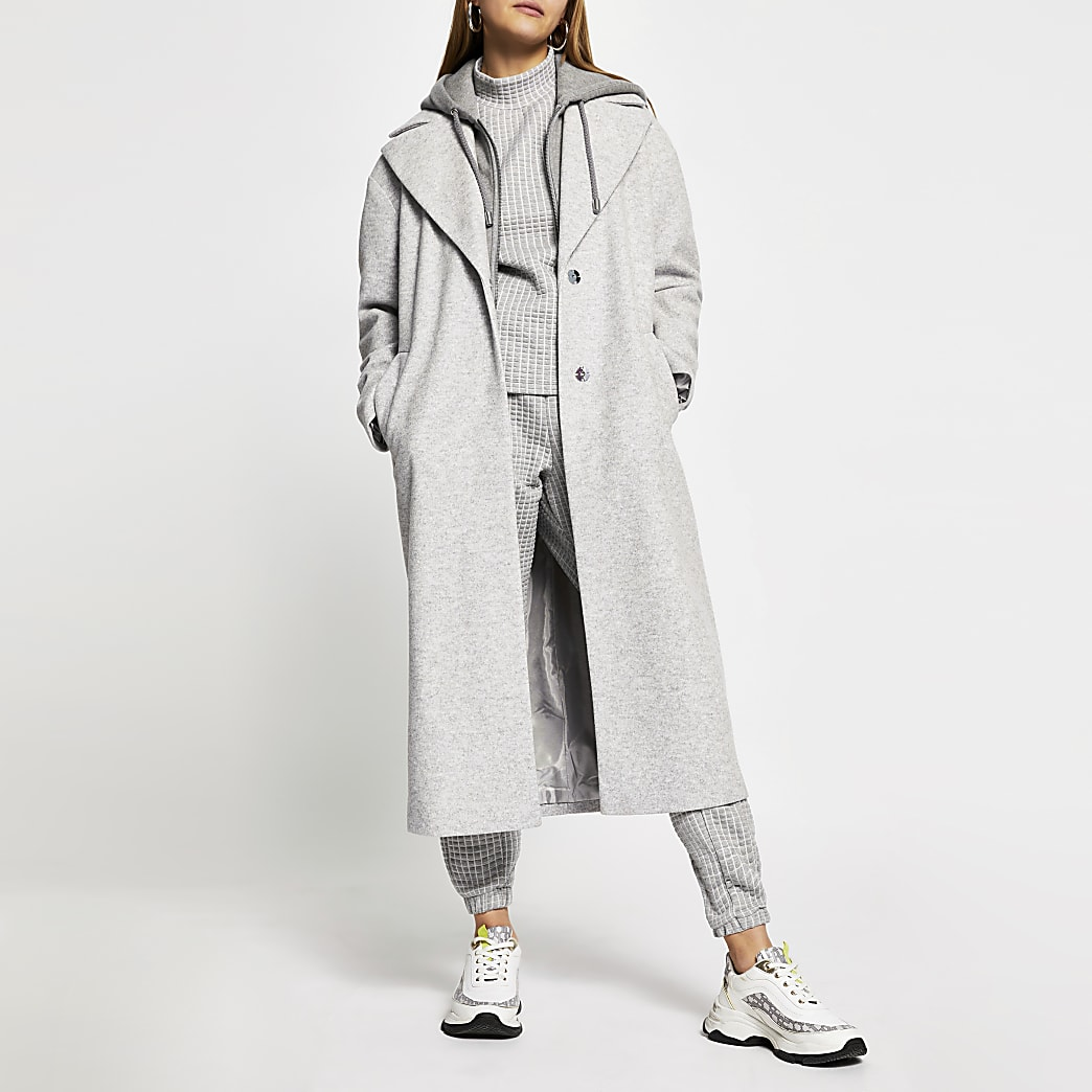 Grey hoody long line coat