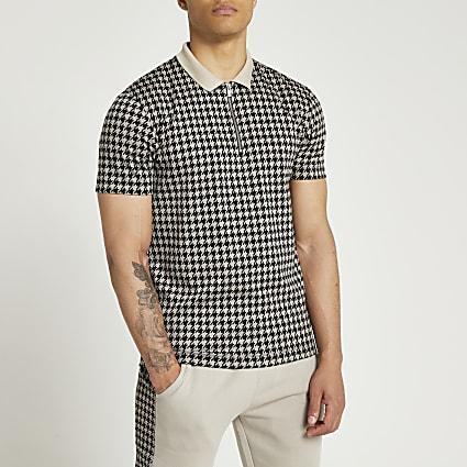 Grey houndstooth slim short sleeve polo shirt