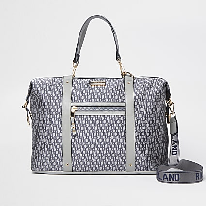 Grey jacquard RI monogram holdall bag