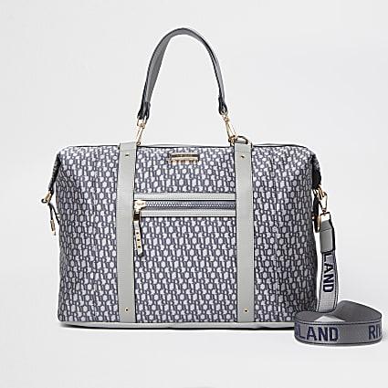 Grey jacquard RI monogram holdall bag
