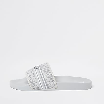 Grey jacquard RI monogram sliders