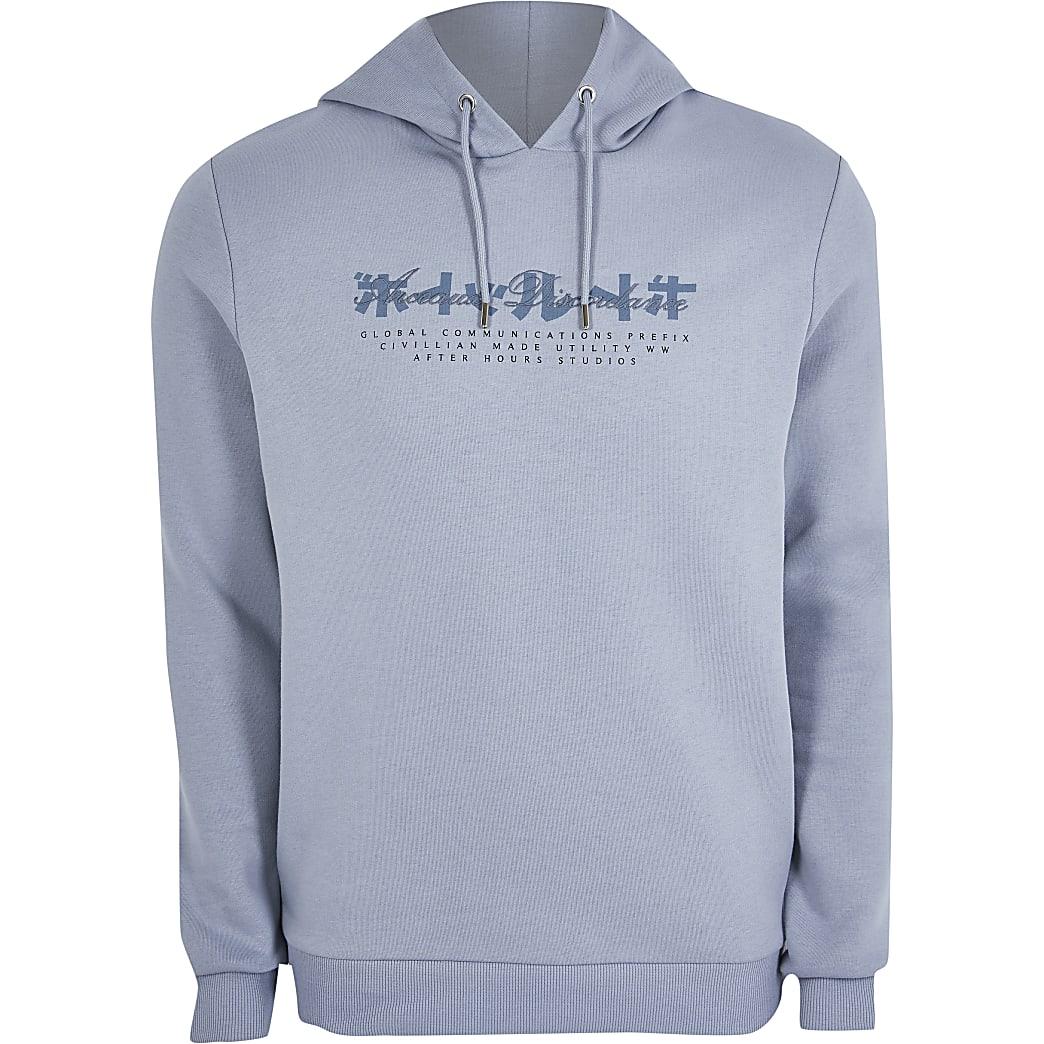 Grey Japanese chest print slim fit hoodie