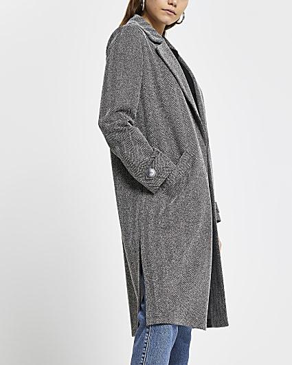 Grey jersey longline duster jacket