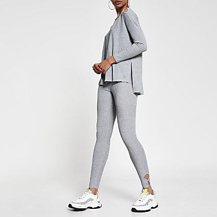 Grey keyhole detail leggings
