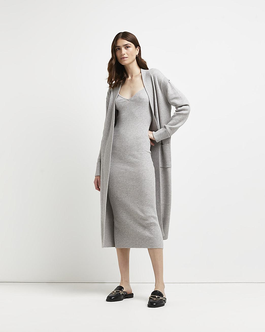 Grey knitted bodycon midi dress