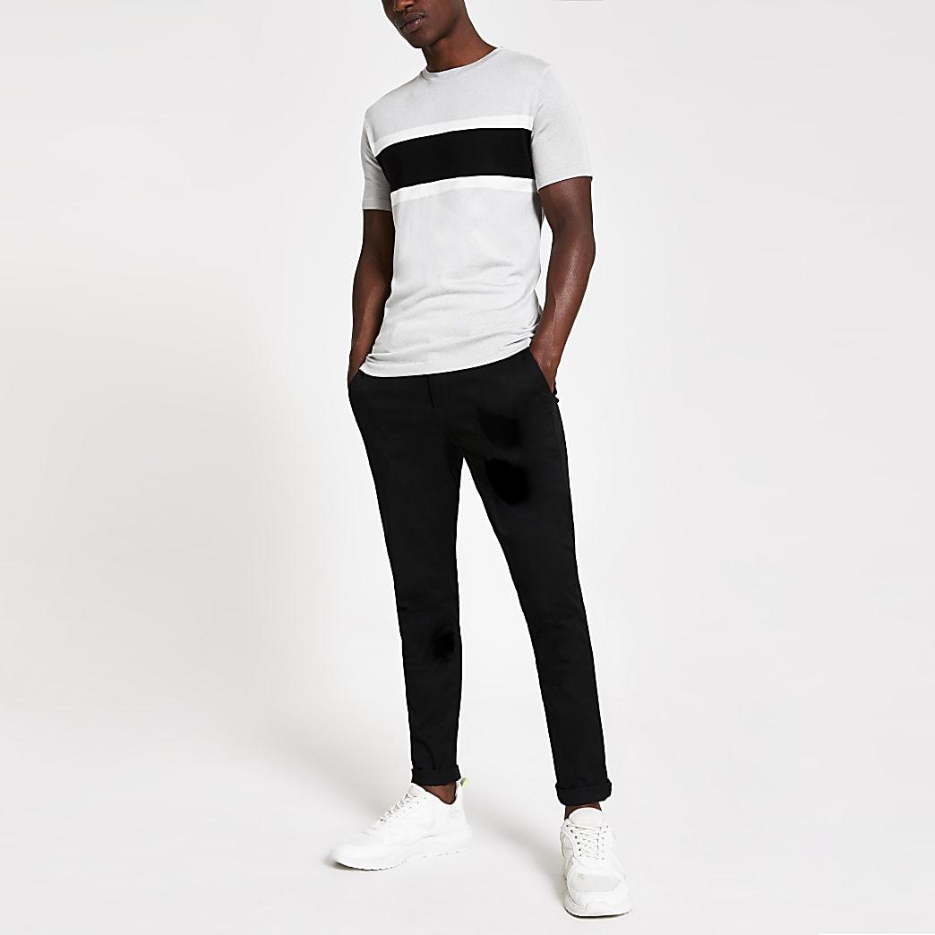 Grijs gebreid slim-fit T-shirt met kleurvlakken