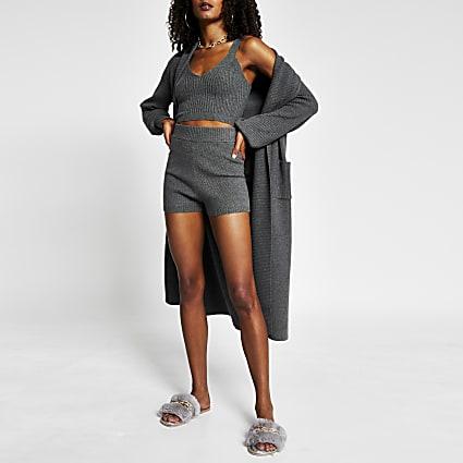 Grey knitted cycling shorts