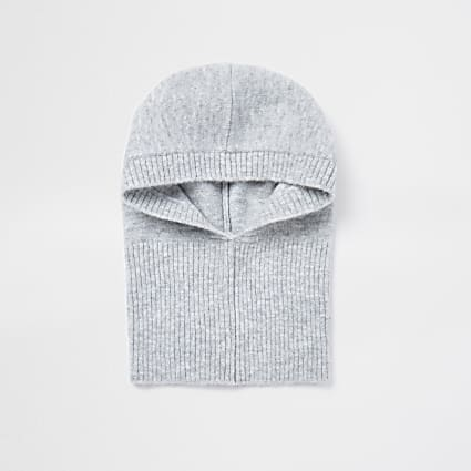 Grey knitted hood