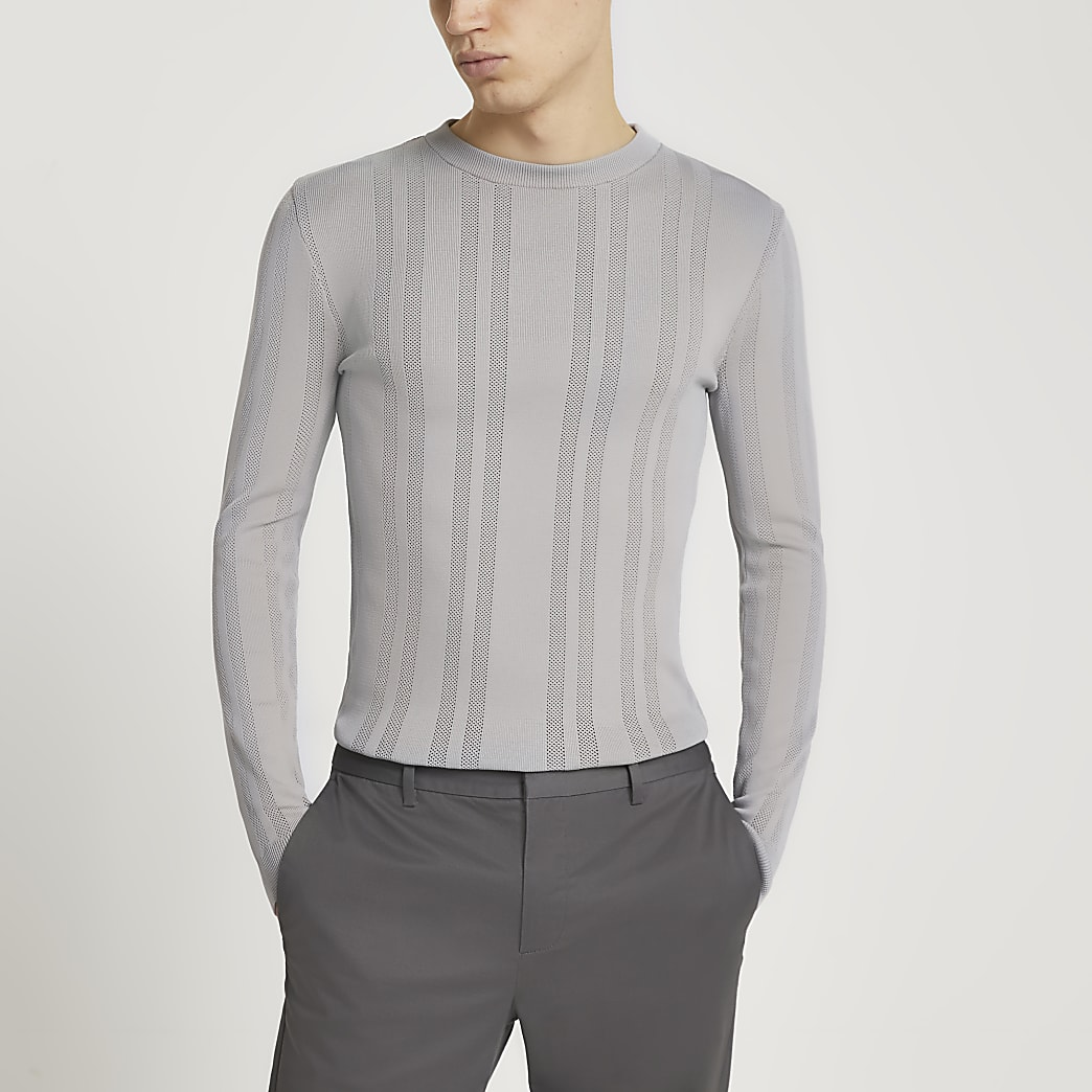 Grey knitted muscle fit crew neck jumper