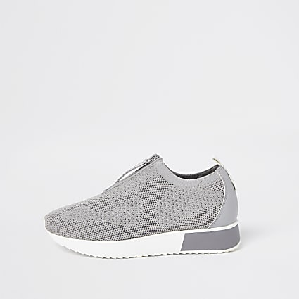 Grey knitted runner trainers