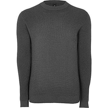 Grey knitted slim fit long sleeve jumper
