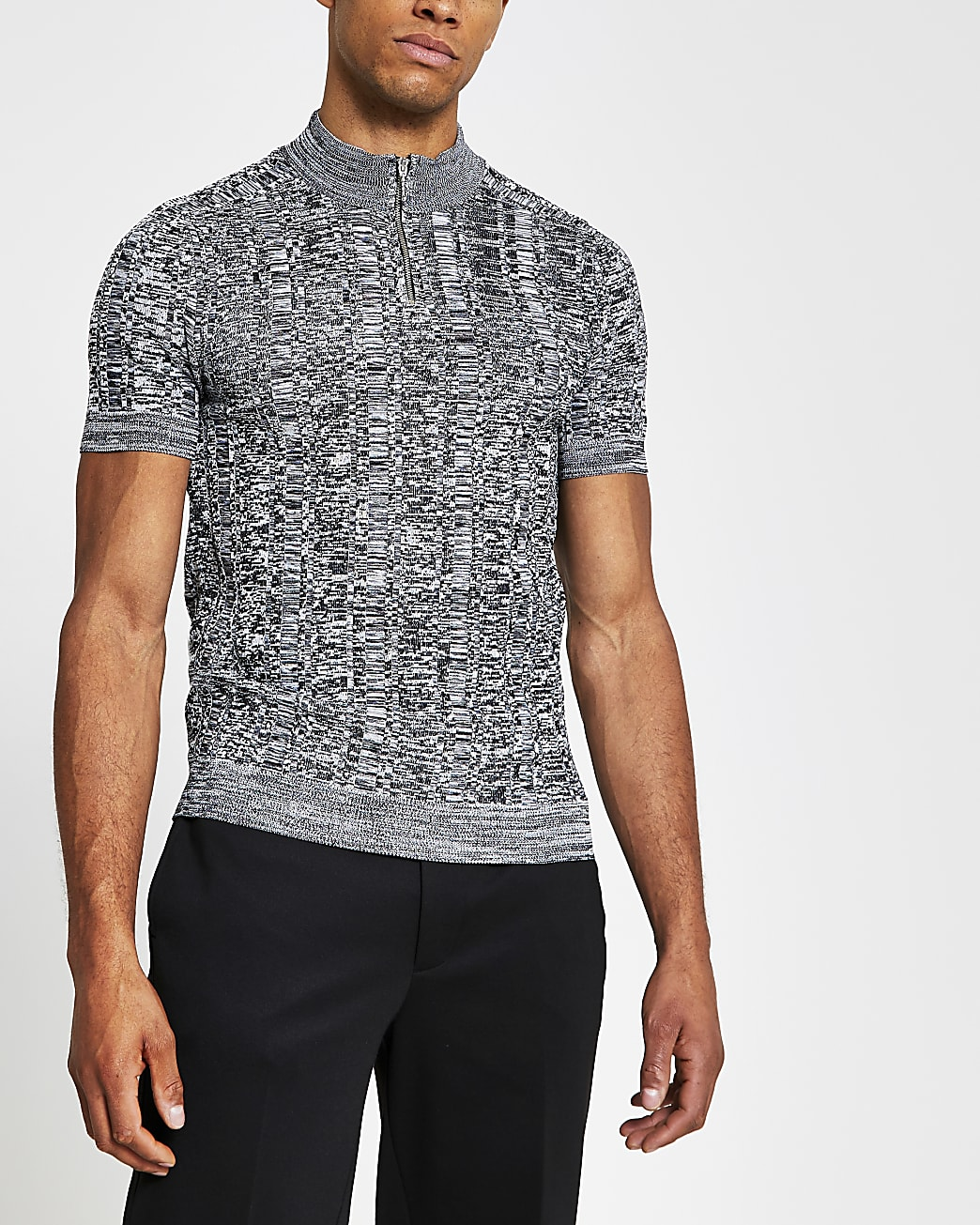 Grey knitted zip muscle fit turtle neck top