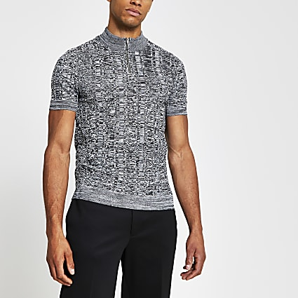 Grey knitted zip neck muscle fit polo shirt