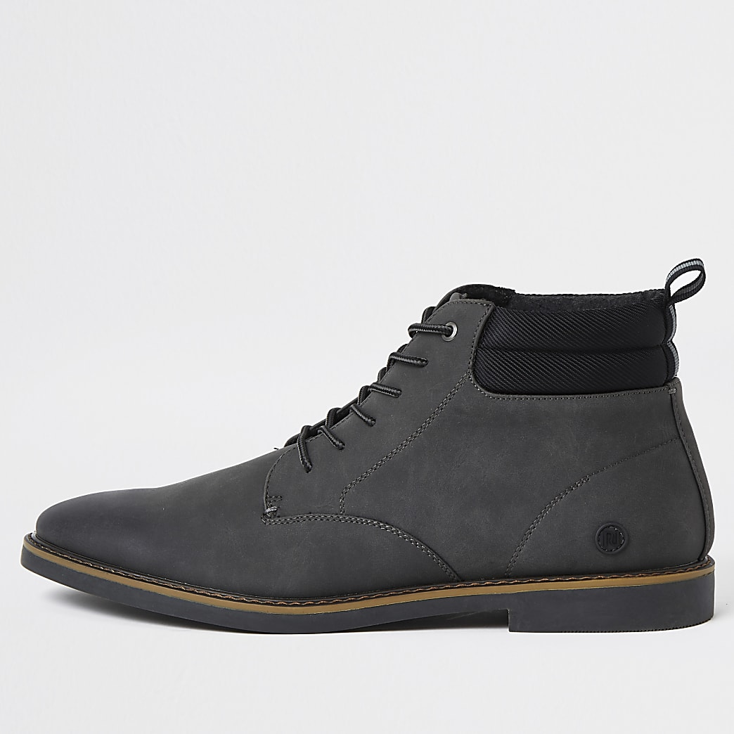 Grey lace up chukka boots
