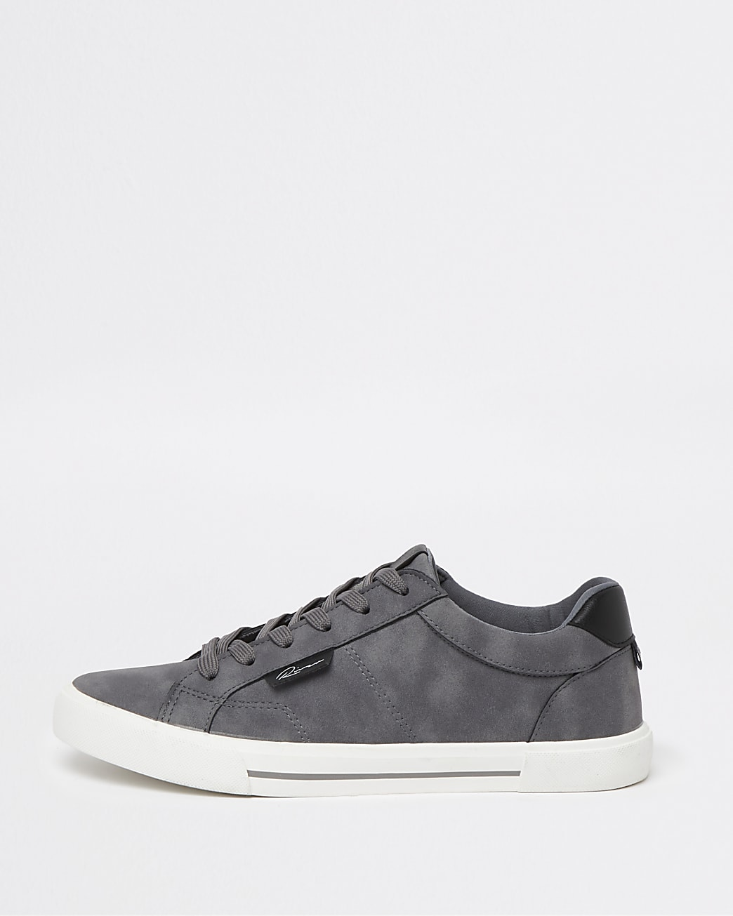 Grey lace up plimsoll trainers