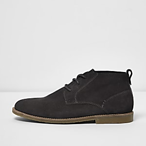 Bottines chukka larges à lacets grises