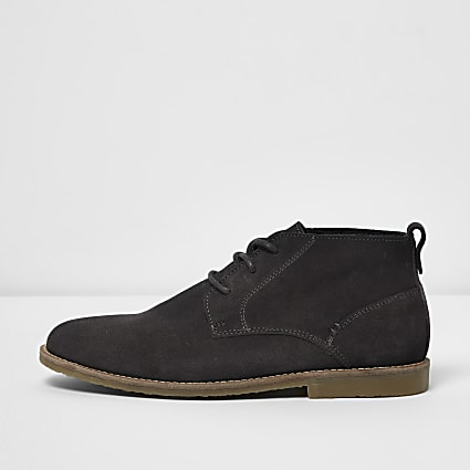 Grey lace-up wide fit chukka boots